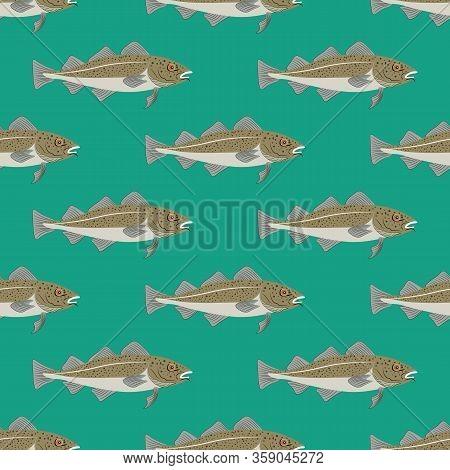 Codfish Fish Marine Nature Seafood Vector Seamless Pattern