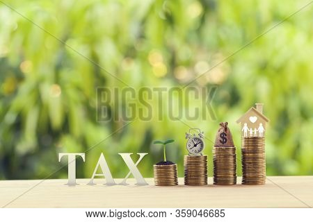 House Or Housing, Land Value, Finance Concept: Word Tax And Young Plant, Alarm Clock, Dollar Bags, H