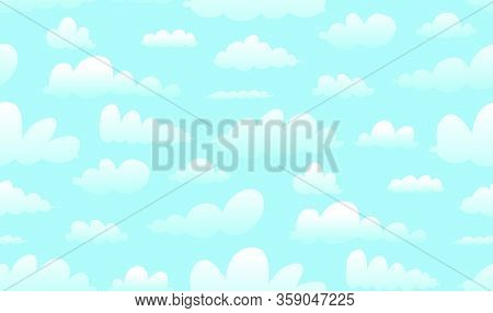 Clouds, Skies And Heaven Seamless Pattern Texture Background, Hand Drawn Vector In Watercolor Style.