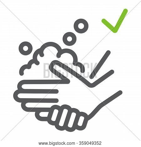 Washing Hands With Soap Line Icon, Wash And Hygiene, Wash Your Hands Sign, Vector Graphics, A Linear