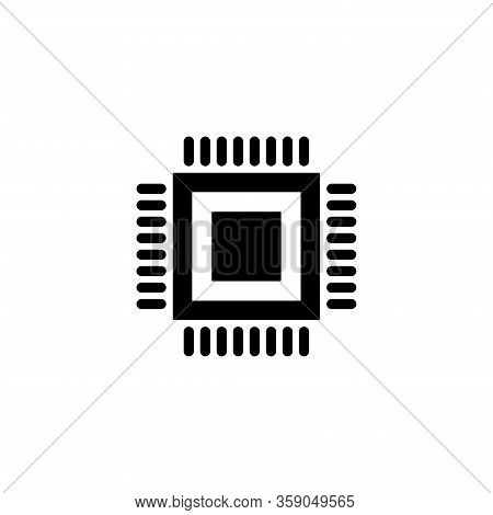 Electronic Chip Vector Icon Isolated On White Background. Computer Chip Icon. Cpu Microprocessor Chi