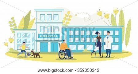 Rehabilitation Center Or Clinic For Disabled Or Injured People Trendy Flat Vector Concept. Paralyzed