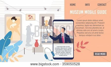 Museum Mobile Guide Application Or Service Web Banner, Lading Page Template. Excursion Guide Telling