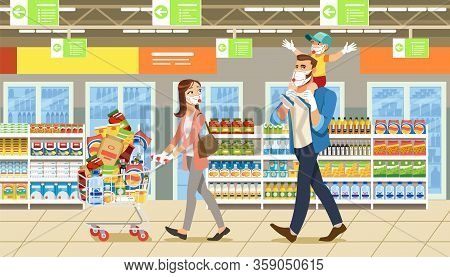 Family Stocks Groceries During A City Pandemic. Parents With Their Son At Grocery Store Make Large P
