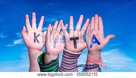 Children Hands Building Word Kita Means Kindergarden, Blue Sky