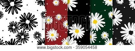 Set Of White Daisies And White Circle Seamless Pattern. Daisy In Doodle Style. Tiny Flowers Seamless