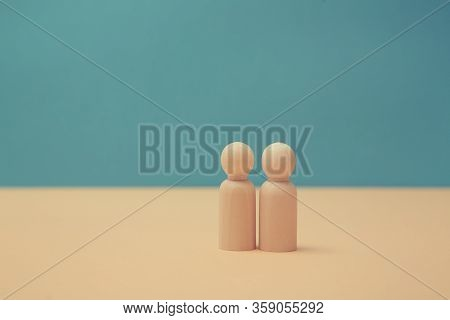 Wooden Figures Mockup And Place For Text. People Relationship, Friendship, Partnership. Persons Mini
