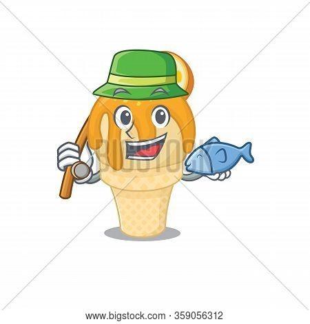 Cartoon Design Concept Of Orange Ice Cream While Fishing