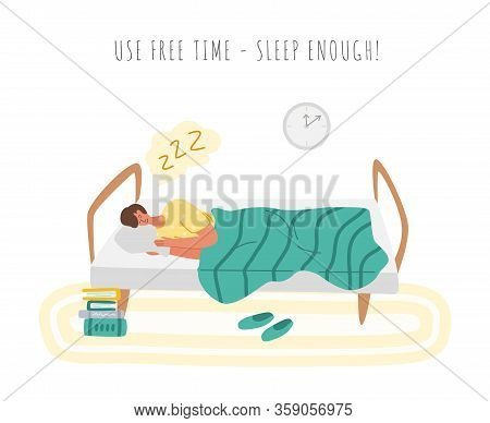 Stay Home Concept - Man Is Sleeping In Cozy Bed, Home Activity For Covid-19 Quarantine Isolation - R