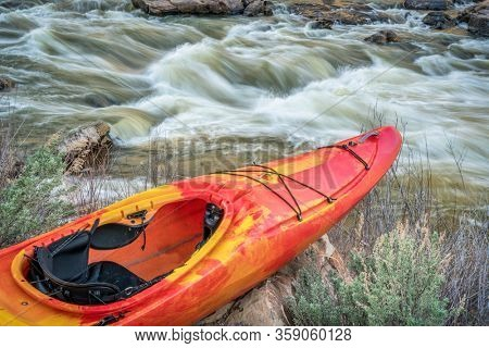 whitewater kayak and river rapid - Rodeo Rapid on the upper Colorado River at Burns, Colorado, USA