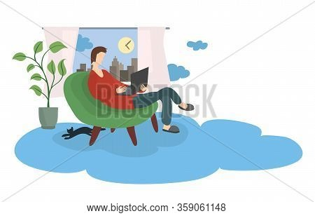 Man With A Laptop In A Soft Chair Against The Background Of A Window With A City View. Cloud Technol