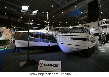 Istanbul, Turkey - February 22, 2020: Parker Boats On Display At Cnr Eurasia Boat Show In Cnr Expo C