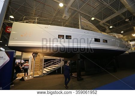 Istanbul, Turkey - February 22, 2020: Sailboat On Display At Cnr Eurasia Boat Show In Cnr Expo Cente