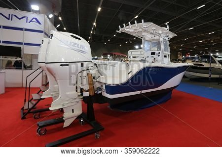 Istanbul, Turkey - February 22, 2020: Enma Boat On Display At Cnr Eurasia Boat Show In Cnr Expo Cent