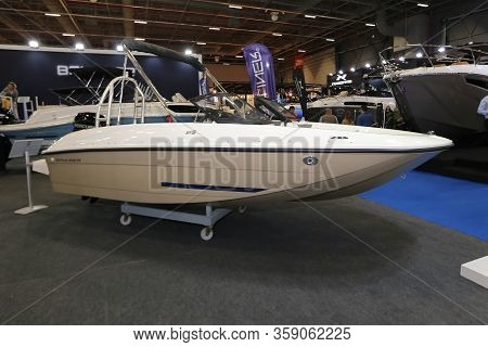 Istanbul, Turkey - February 22, 2020: Bayliner Boat On Display At Cnr Eurasia Boat Show In Cnr Expo
