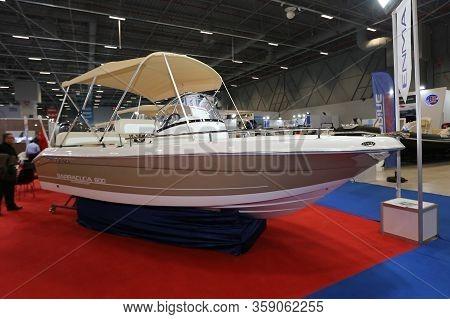 Istanbul, Turkey - February 22, 2020: Enma Barracuda 600 Boat On Display At Cnr Eurasia Boat Show In