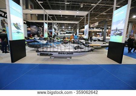 Istanbul, Turkey - February 22, 2020: Seadoo Jet Ski On Display At Cnr Eurasia Boat Show In Cnr Expo