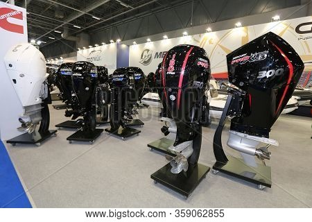 Istanbul, Turkey - February 22, 2020: Mercury Engines On Display At Cnr Eurasia Boat Show In Cnr Exp