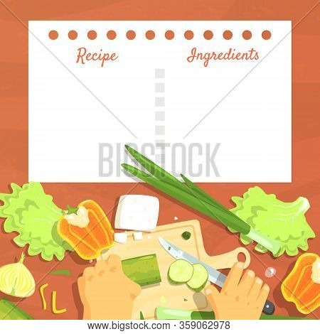 Recipe Blank Card Or Sheet Template For Making Notes About Meal Preparation, Healthy Fresh Cooking I
