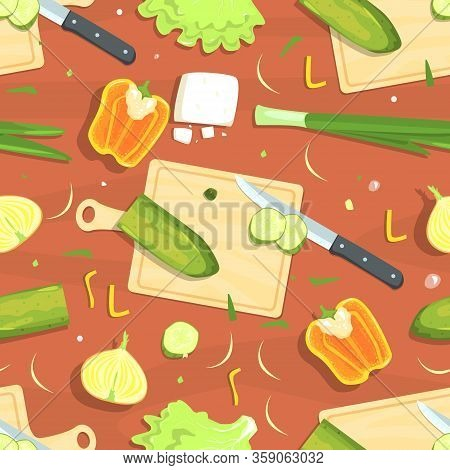 Culinary Seamless Pattern, Cooking And Healthy Eating Design Element Can Be Used For Wallpaper, Pack