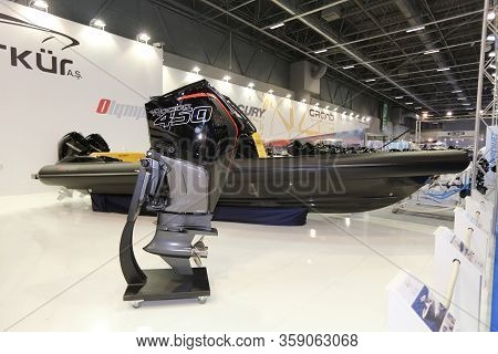 Istanbul, Turkey - February 22, 2020: Boat Engine On Display At Cnr Eurasia Boat Show In Cnr Expo Ce