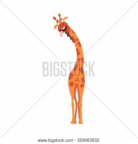 Funny Giraffe With Tongue Out, Funny Crazy African Animal Cartoon Character Vector Illustration