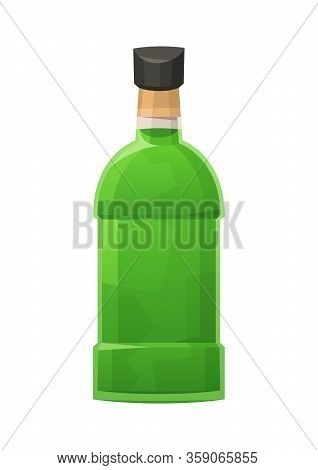Glass Bottle Of Absinthe On White Background Vector