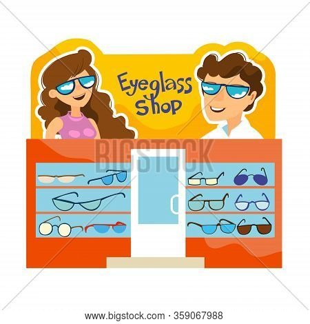 Showcase Of A Shop Selling Glasses. Banner With Beautiful And Happy People In Sunglasses