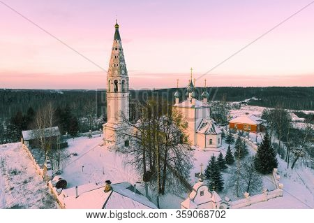 View Of Spaso-preobrazhenskiy Cathedral In January Evening (shooting From Quadrocopter). Sudislavl.