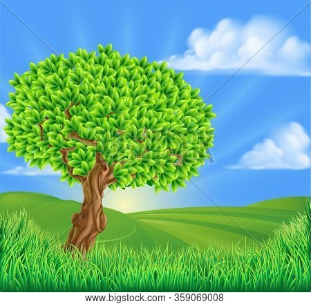 A Tree With Idyllic Rolling Hills Landscape Background