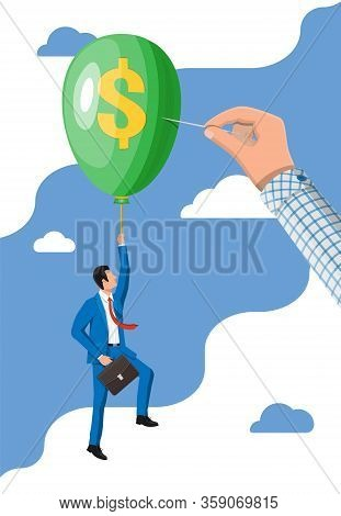 Businessman In Suit Flying A Balloon And Hand With Needle. Concept Of Economy Problem Or Financial C