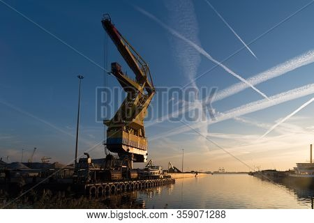 Floating Cargo Crane In The Amsterdam Port