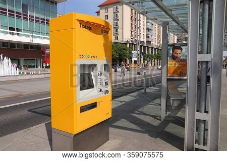 Dresden, Germany - May 10, 2018: Ticket Machine At A Tram Stop In Dresden. 12 Tram Lines Are Served