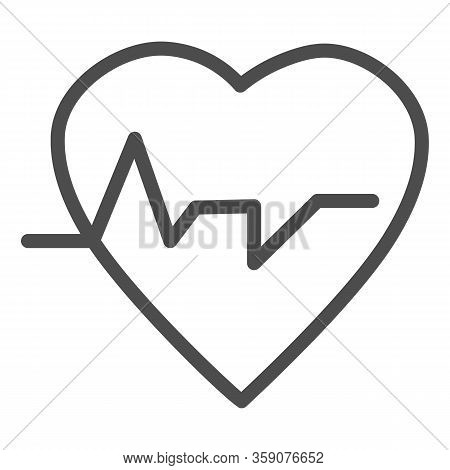 Heartbeat Line Icon. Heart With Pulse, Electrocardiogram Symbol, Outline Style Pictogram On White Ba