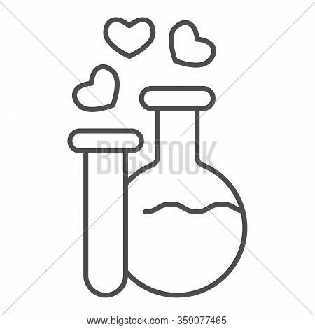 Two Potions Thin Line Icon. Flask And Tube With Elixir And Hearts Bubbles Symbol, Outline Style Pict