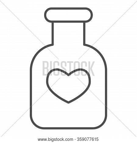 Potion Flask Thin Line Icon. Bottle Of Love Spell Elixir And Heart Shape Symbol, Outline Style Picto
