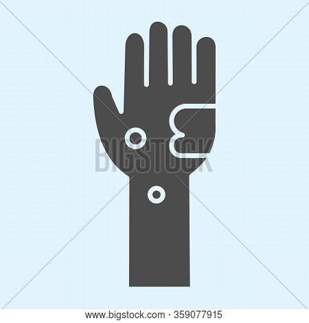 Dirty Hand Solid Icon. Bacteria And Infection On Muddy Hands Glyph Style Pictogram On White Backgrou