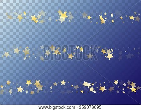Star Shining Gold Gradient Sparkles On Transparent Background. Beautiful Vector Magic Stars Gold Fal