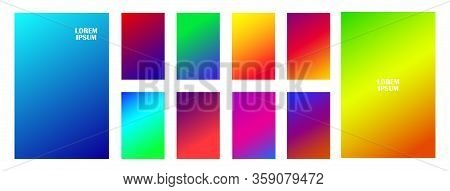 Colorful Gradient. Different Colors. Modern Smartphone Screen, Mobile App Template. Modern Screen Ve
