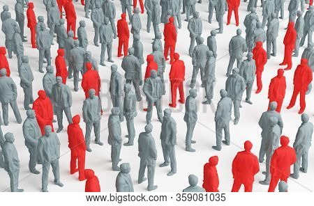 View From Above The Crowd, Concept Of Pandemic, Virus Contagion, Individual Detection. 3d Rendering