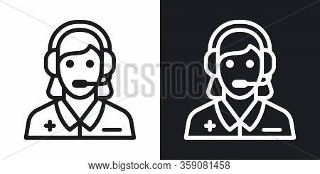 Emergency Service, Ambulance Call Or Operator Icon. Young Woman With A Headphone Takes A Call. Simpl