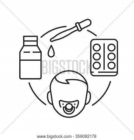 Dosage Medicines For Children Black Line Icon. Pediatric Health Care Sign. Childcare Concept. Pictog
