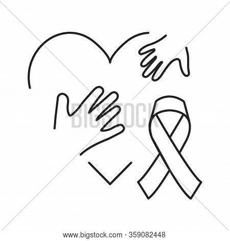 Pediatric Oncology Black Line Icon. Cancer Treatment In Children. Pictogram For Web Page, Mobile App