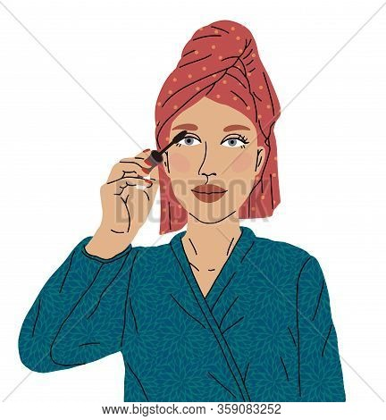 Beautiful Woman Paint Eye Ink Mascara Came Out From The Shower With A Towel On Her Head And A Soft B
