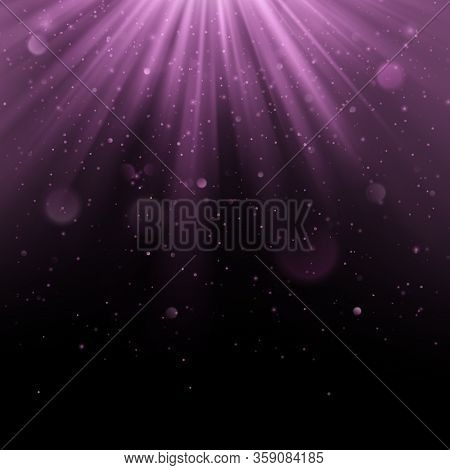 Abstract Purple Overlay Effect. Shimmering Object With Rays Background. Glow Light Falling Down And