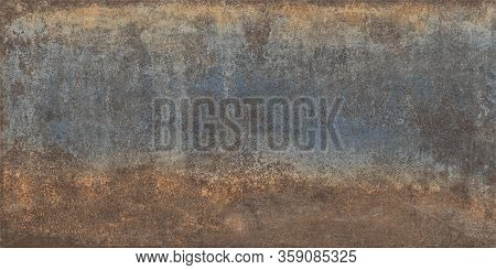 Panoramic Grunge Rusted Oxidized Metal Texture,old Metal Iron Plate.