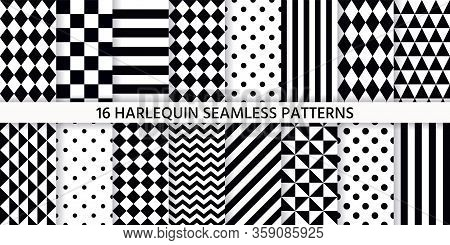 Harlequin Seamless Pattern. Vector. Black White Background With Rhombuses, Triangles, Stripes, Dots