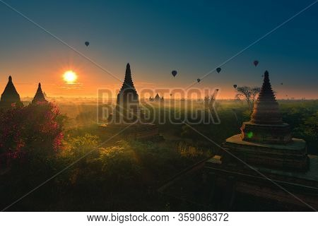 Hot Air Balloons At Sunrise Over Beautiful Temples Bagan Myanmar