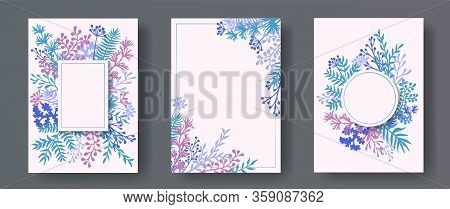 Wild Herb Twigs, Tree Branches, Leaves Floral Invitation Cards Templates. Bouquet Wreath Modern Invi