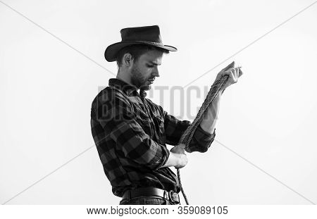Ranch Worker. Eco Farm. Farming Concept. Handsome Man In Hat And Rustic Style Outfit. Keep Ranch. Th